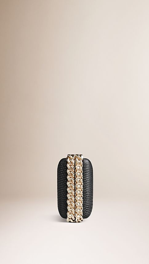 Black Chain-Detail Lizard Box Clutch - Image 4