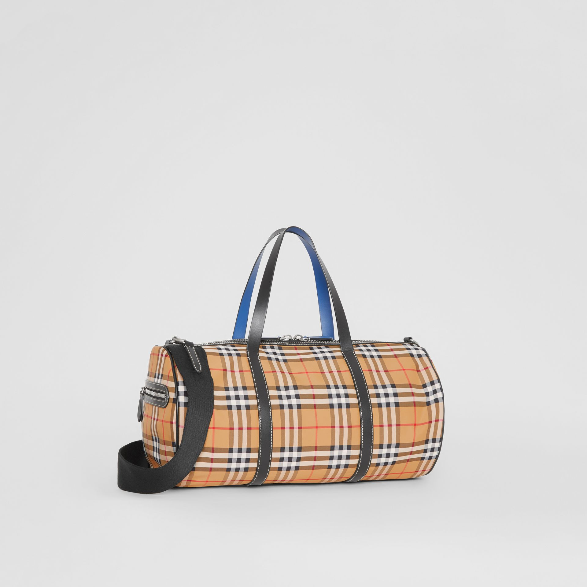Medium Vintage Check and Leather Barrel Bag in Antique Yellow - Men | Burberry Australia - gallery image 6