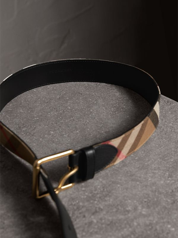 House Check and Leather Belt in Black - Men | Burberry - cell image 3