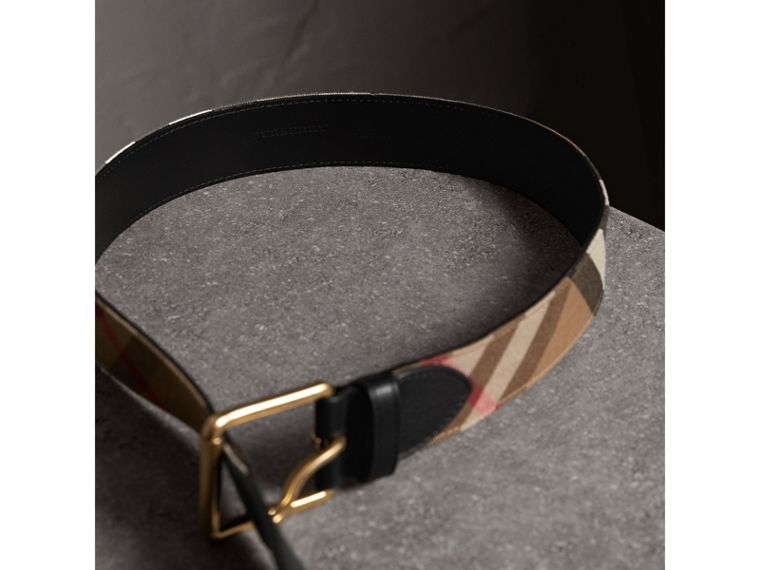 House Check and Leather Belt in Black - Men | Burberry Singapore - cell image 2