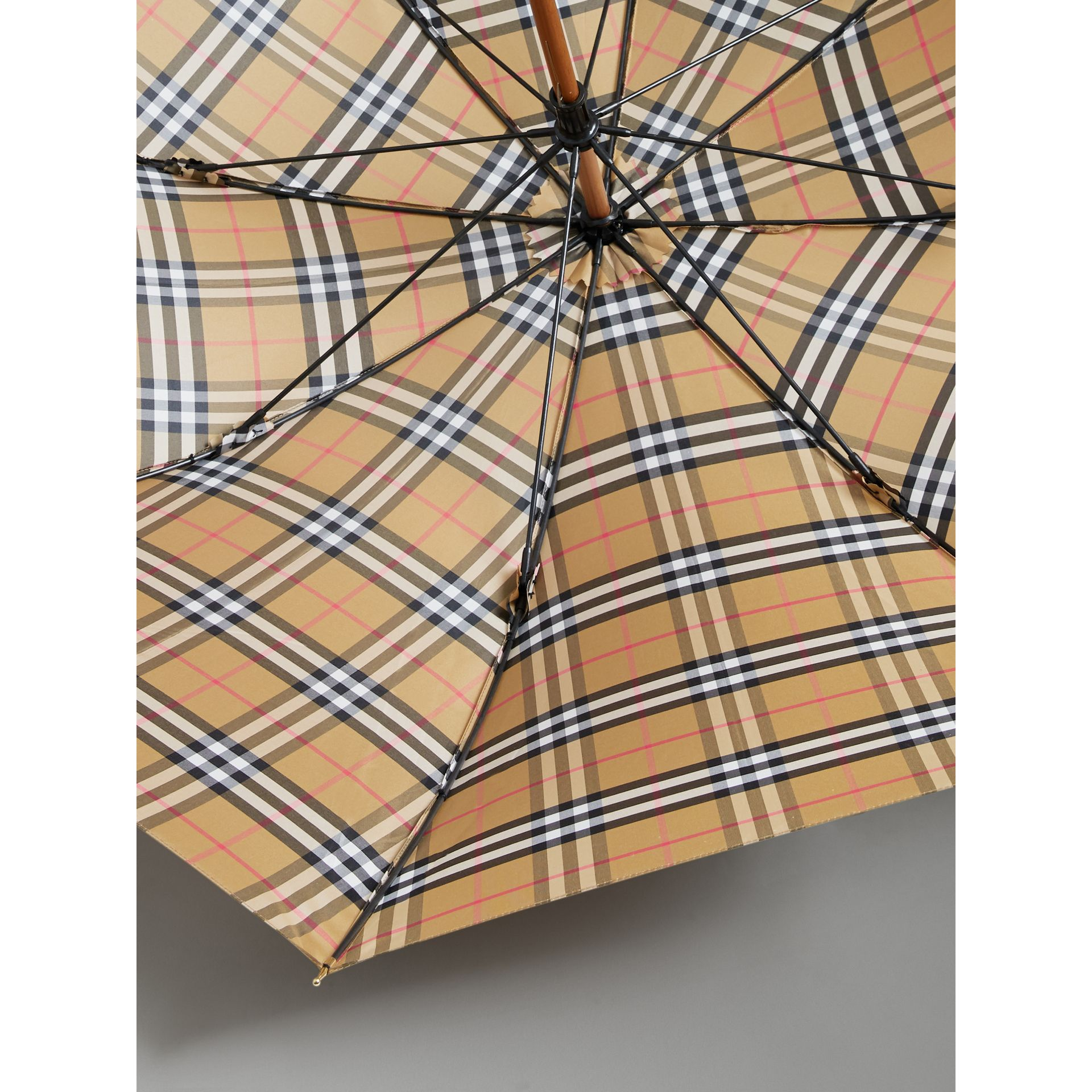Vintage Check Walking Umbrella in Antique Yellow/black | Burberry United Kingdom - gallery image 2