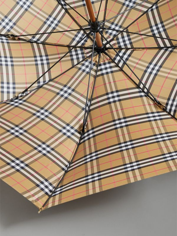 Vintage Check Walking Umbrella in Antique Yellow/black | Burberry United States - cell image 2