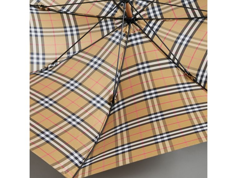 Vintage Check Walking Umbrella in Antique Yellow/black | Burberry United Kingdom - cell image 2