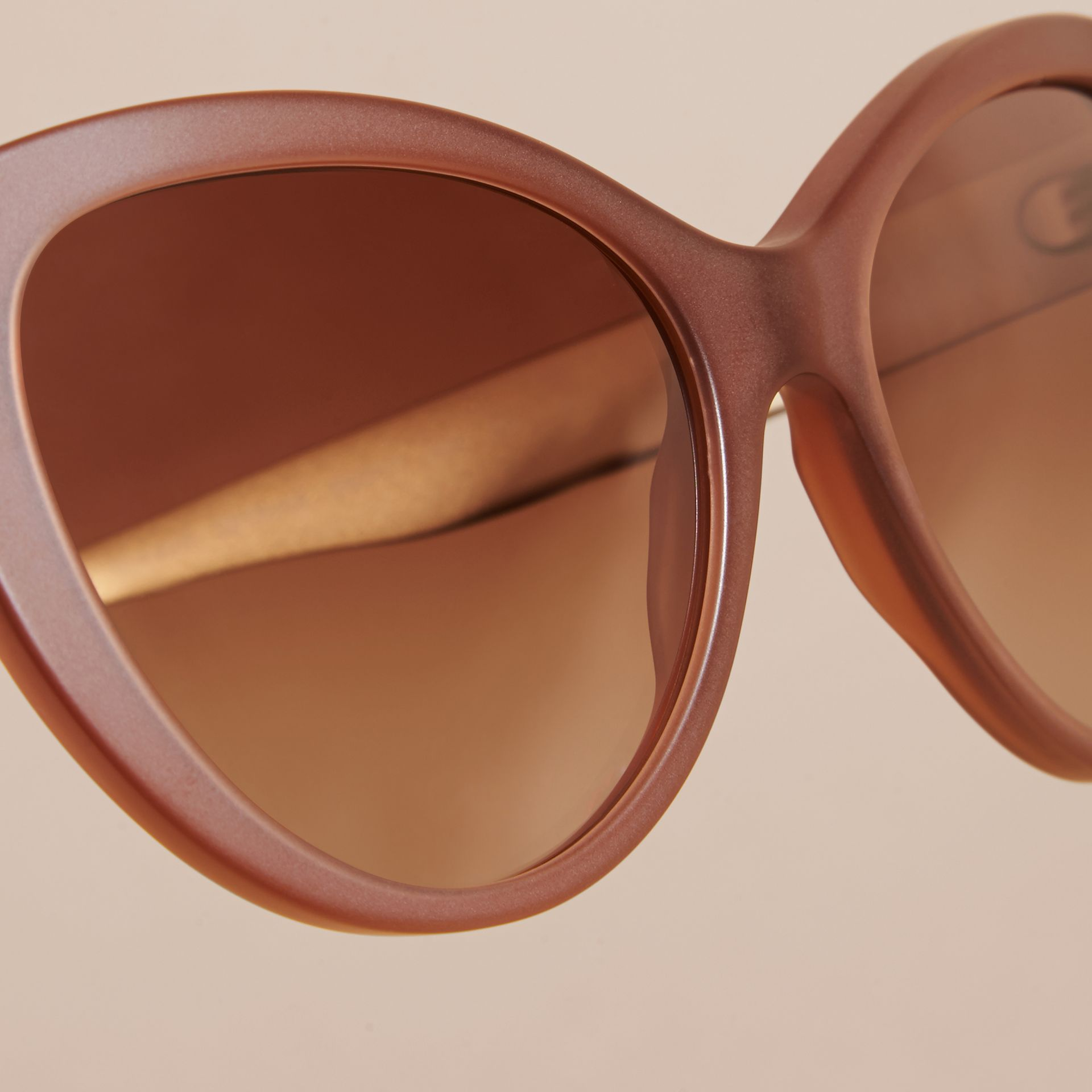 Taupe brown 3D Check Cat-eye Sunglasses Taupe Brown - gallery image 2