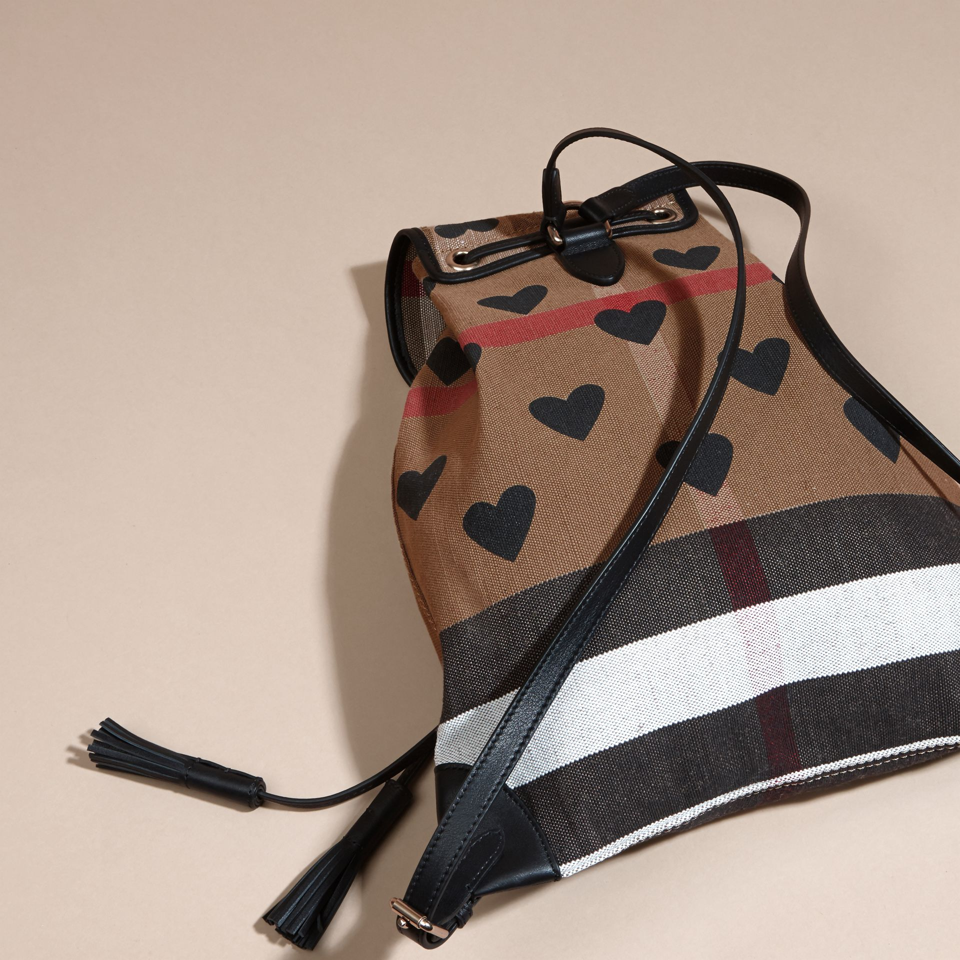 Black Heart Print Canvas Check Backpack with Leather Trim Black - gallery image 5