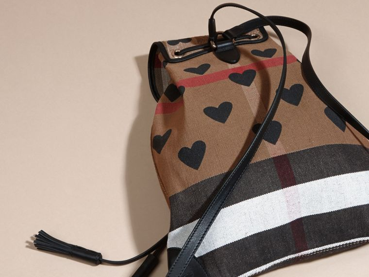 Black Heart Print Canvas Check Backpack with Leather Trim Black - cell image 4