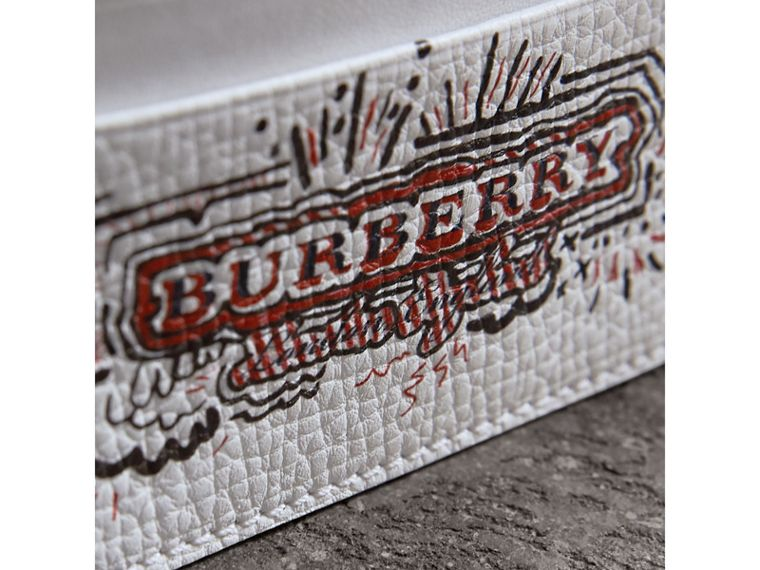 Doodle Print Leather Card Case in Red/white | Burberry - cell image 1