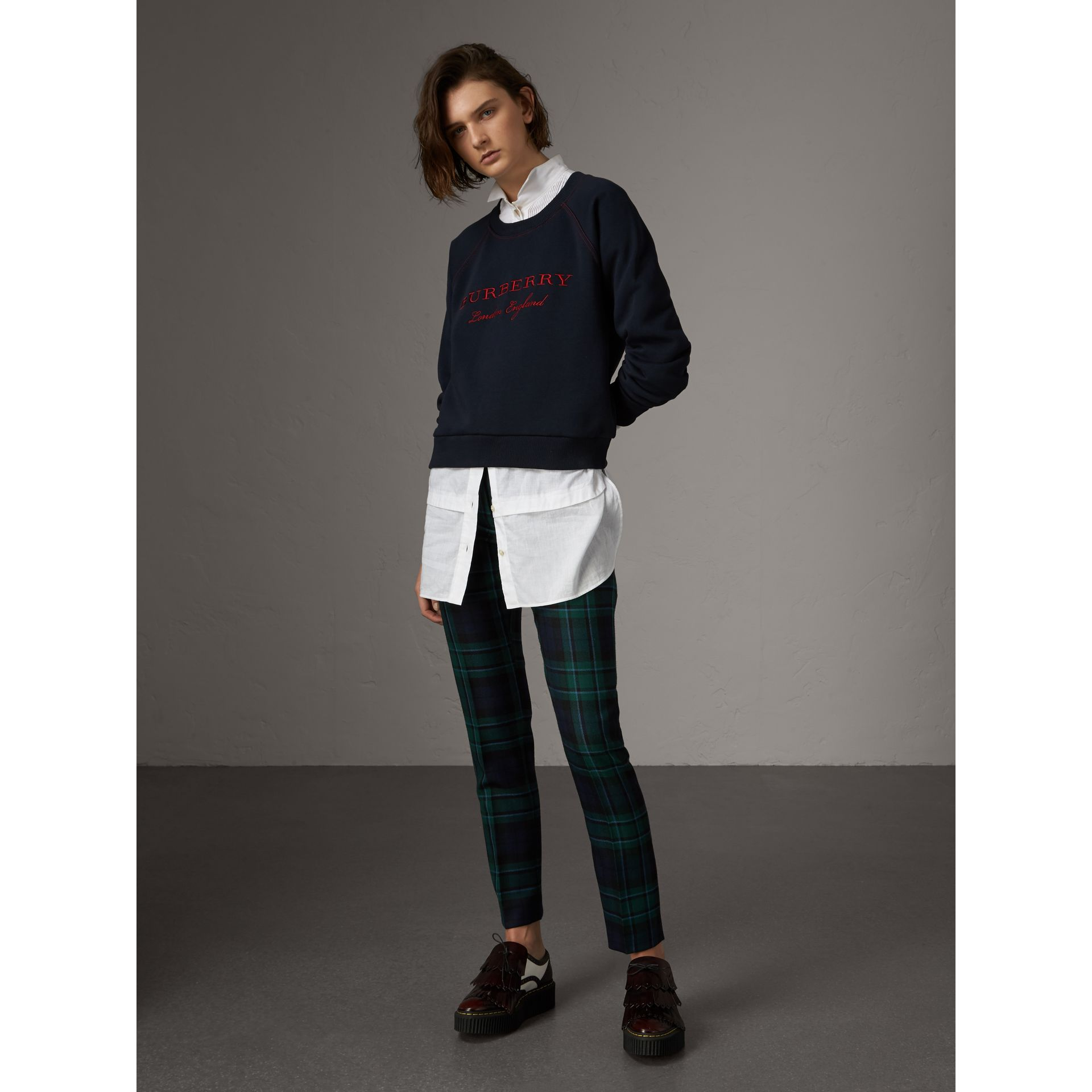 Embroidered Cotton Blend Jersey Sweatshirt in Navy - Women | Burberry Australia - gallery image 4