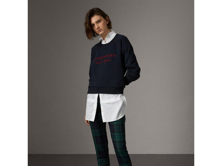 Embroidered Cotton Blend Jersey Sweatshirt in Navy - Women | Burberry Australia - cell image 4