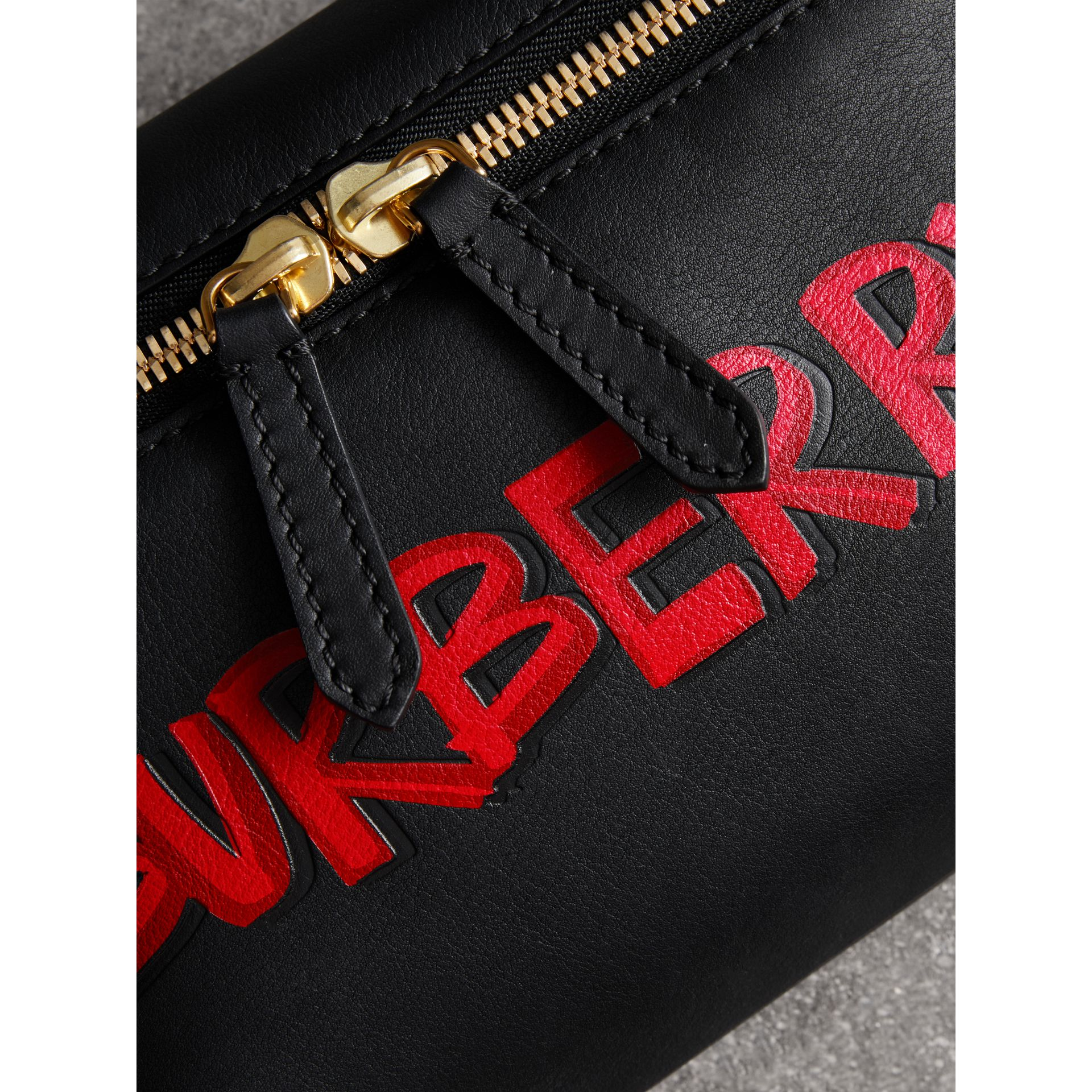 Medium Graffiti Print Leather Bum Bag in Black - Men | Burberry - gallery image 1