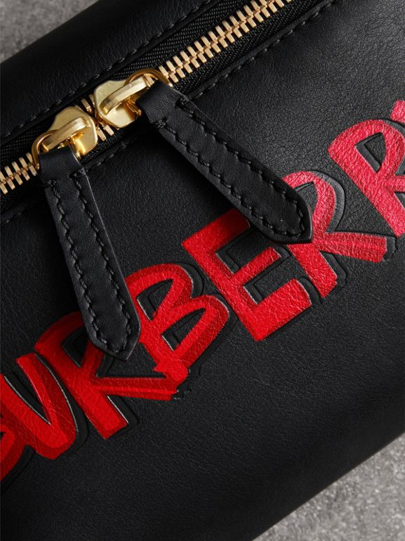 Medium Graffiti Print Leather Bum Bag in Black | Burberry - cell image 1