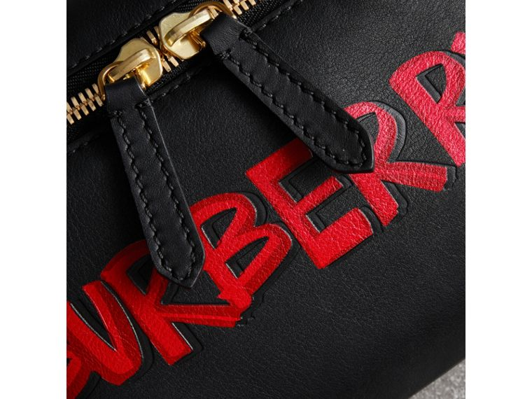 Medium Graffiti Print Leather Bum Bag in Black - Men | Burberry - cell image 1