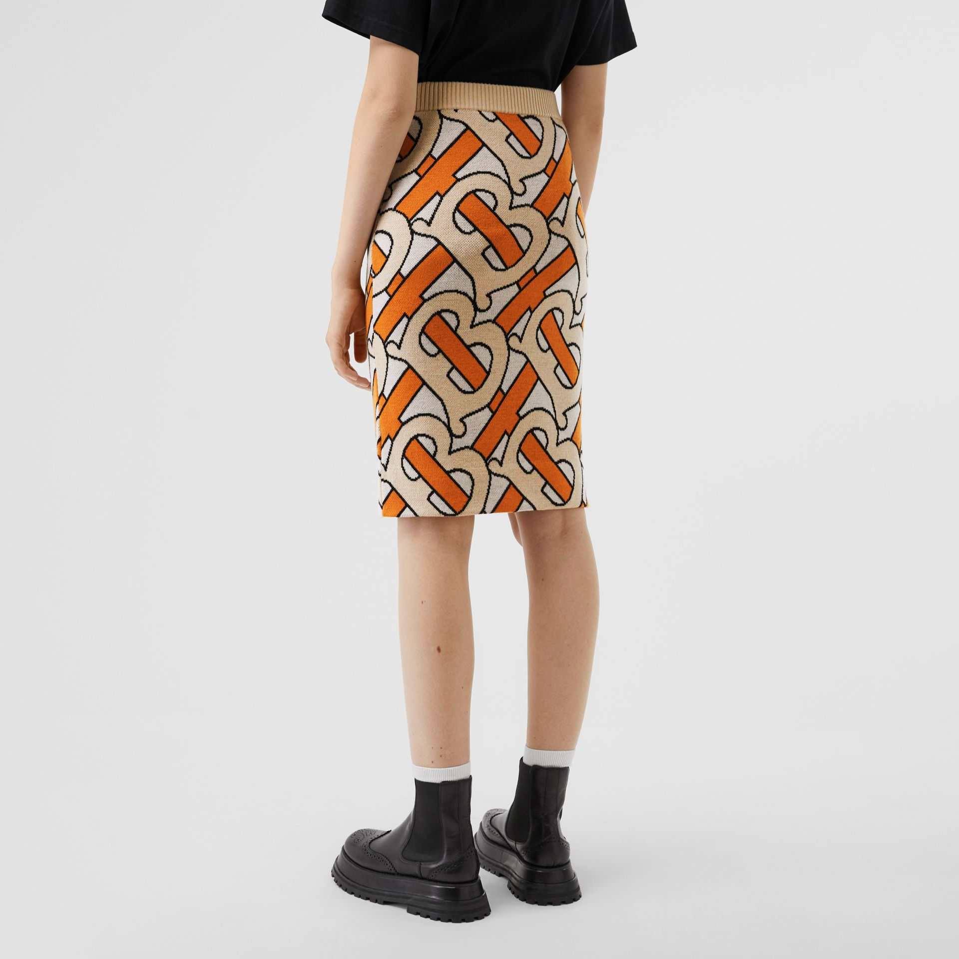 Monogram Intarsia Wool Pencil Skirt in Bright Orange - Women | Burberry - gallery image 2