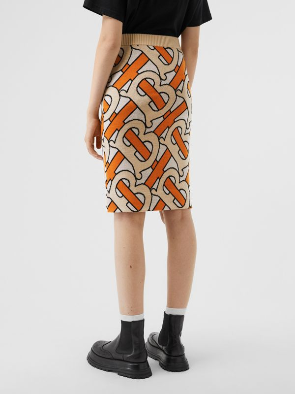 Monogram Intarsia Wool Pencil Skirt in Bright Orange - Women | Burberry - cell image 2