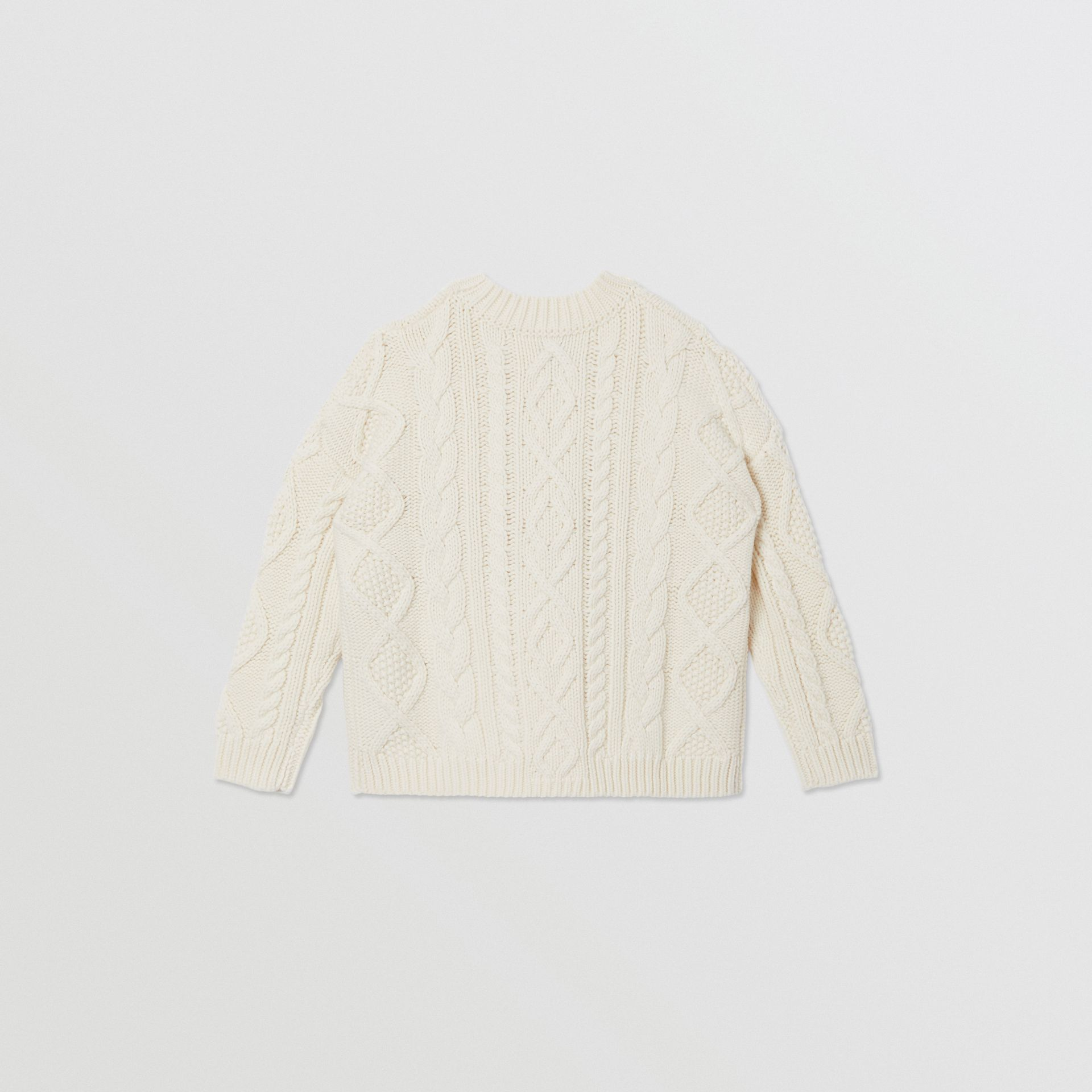 Logo Panel Cable Knit Wool Cashmere Sweater in Ivory | Burberry United States - gallery image 3