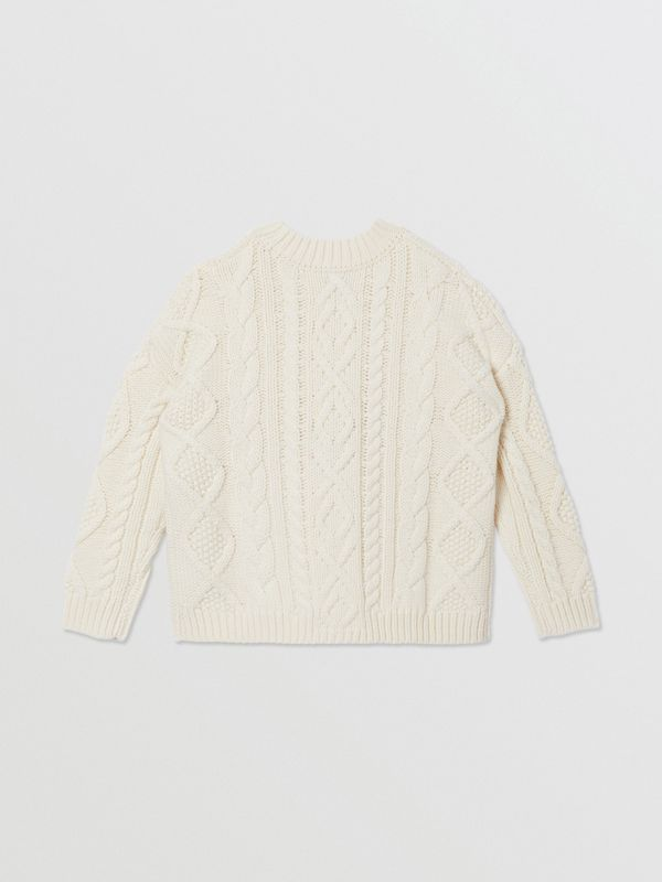 Logo Panel Cable Knit Wool Cashmere Sweater in Ivory | Burberry United States - cell image 3