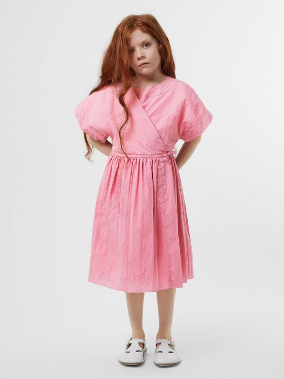 Cotton Blend Wrap Dress in Bright Rose