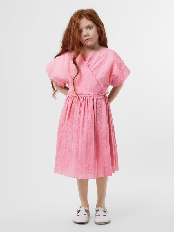 Cotton Blend Wrap Dress in Bright Rose | Burberry United Kingdom - cell image 2
