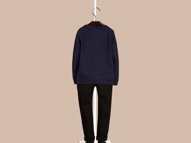 Navy Crew Neck Cotton Sweatshirt - cell image 1
