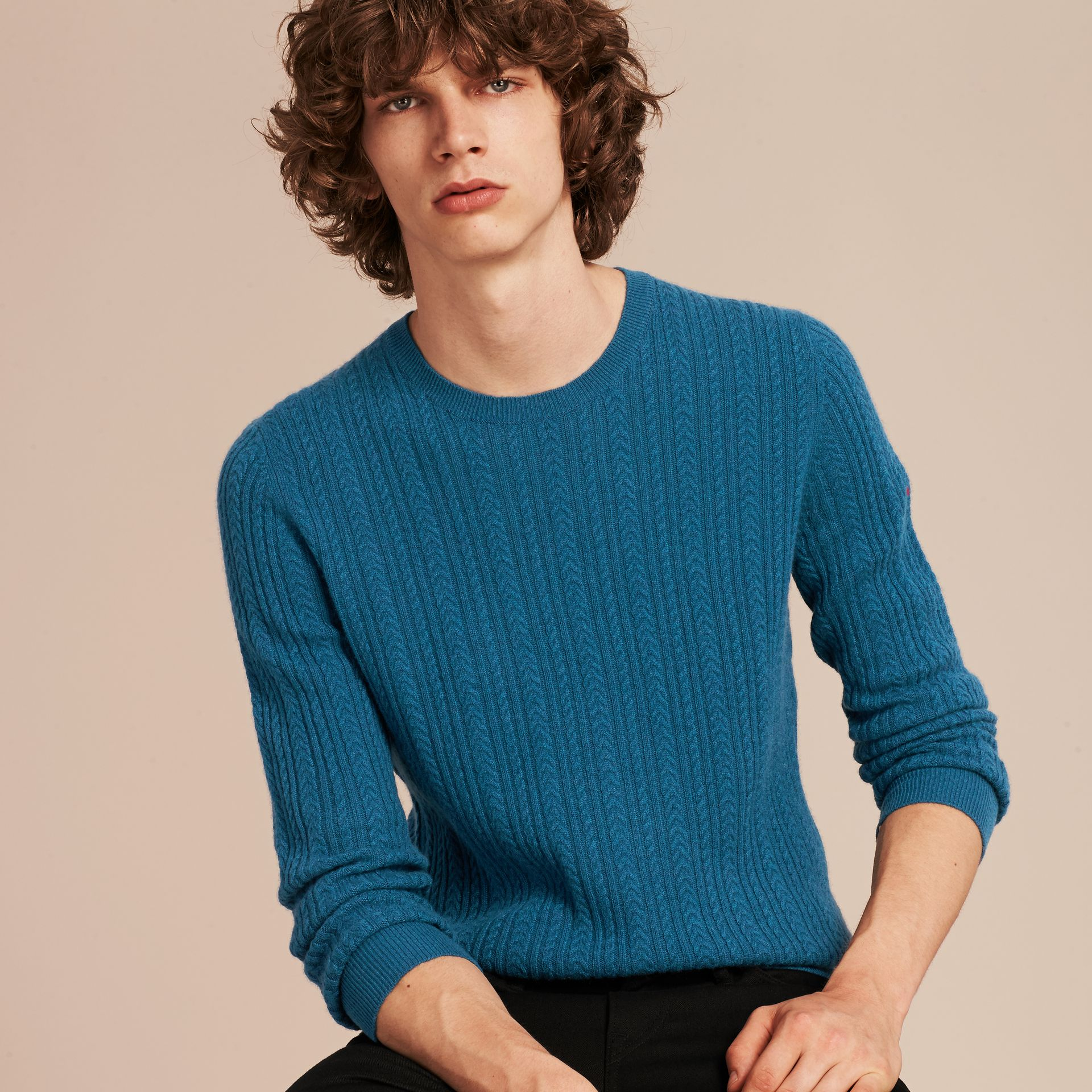 Cyan blue Aran Knit Cashmere Sweater Cyan Blue - gallery image 6