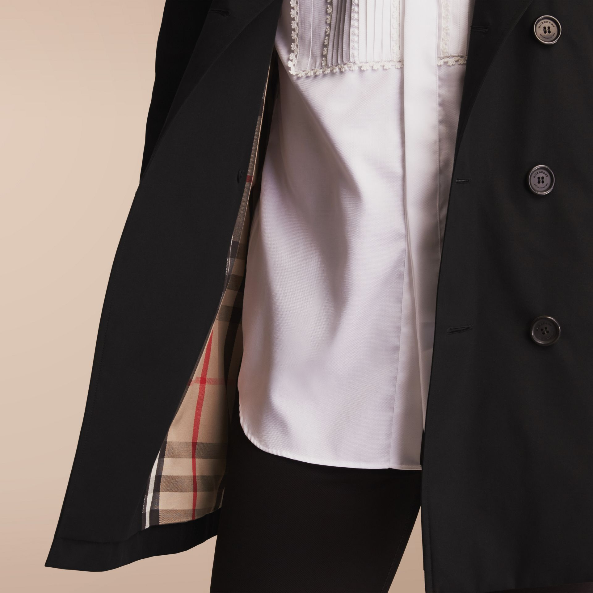 The Sandringham – Mid-length Heritage Trench Coat Black - gallery image 9