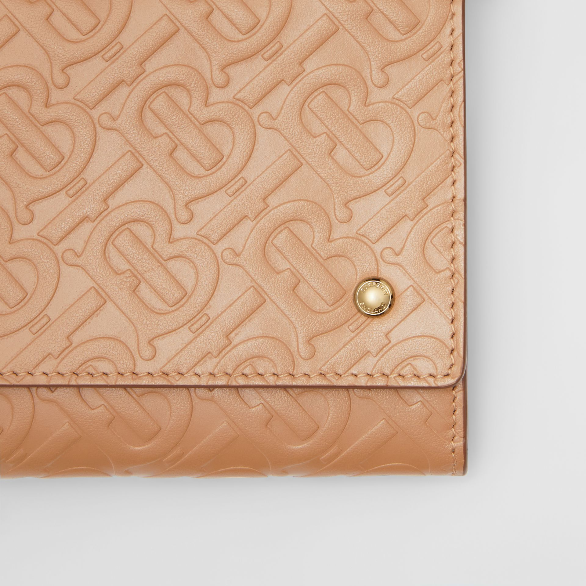 Monogram Leather Wallet with Detachable Strap in Light Camel - Women | Burberry - gallery image 1