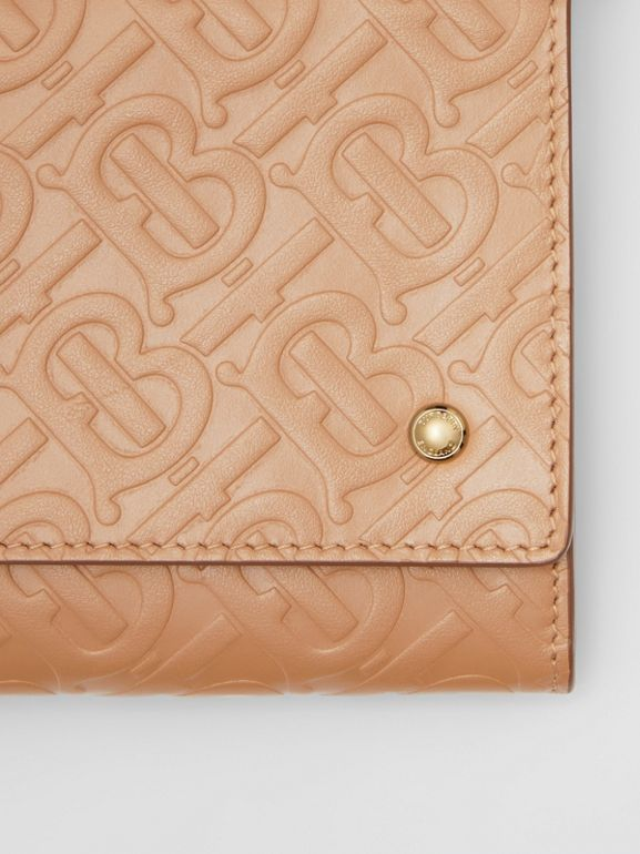 Monogram Leather Wallet with Detachable Strap in Light Camel - Women | Burberry United States - cell image 1