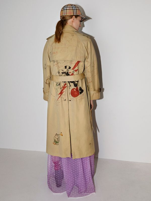 Sketch Print Tropical Gabardine Trench Coat in Honey - Women | Burberry - cell image 2