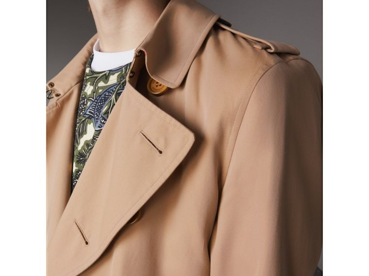 Extra-long Resin Button Cotton Gabardine Trench Coat in Honey - Men | Burberry Australia - cell image 4