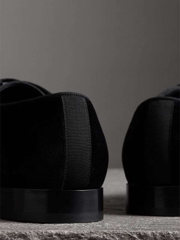 Velvet Derby Shoes in Black - Men | Burberry Australia - cell image 3