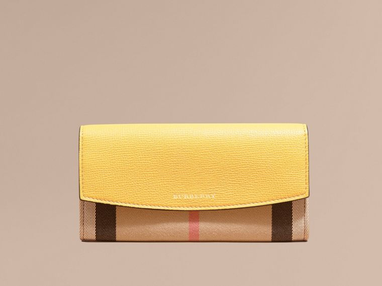 House Check and Leather Continental Wallet Citrus Yellow - cell image 1