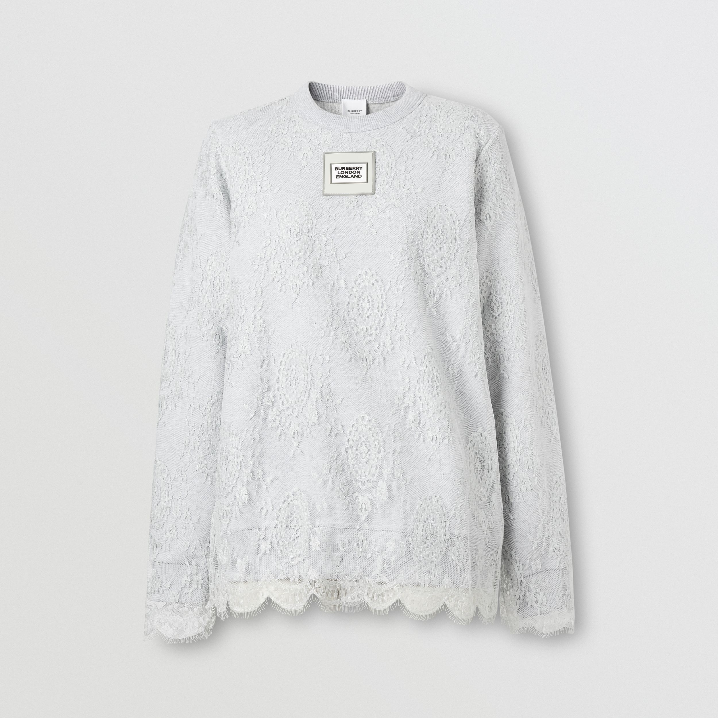 Logo Appliqué Lace Oversized Sweatshirt in Light Pebble Grey - Women | Burberry United Kingdom - 4