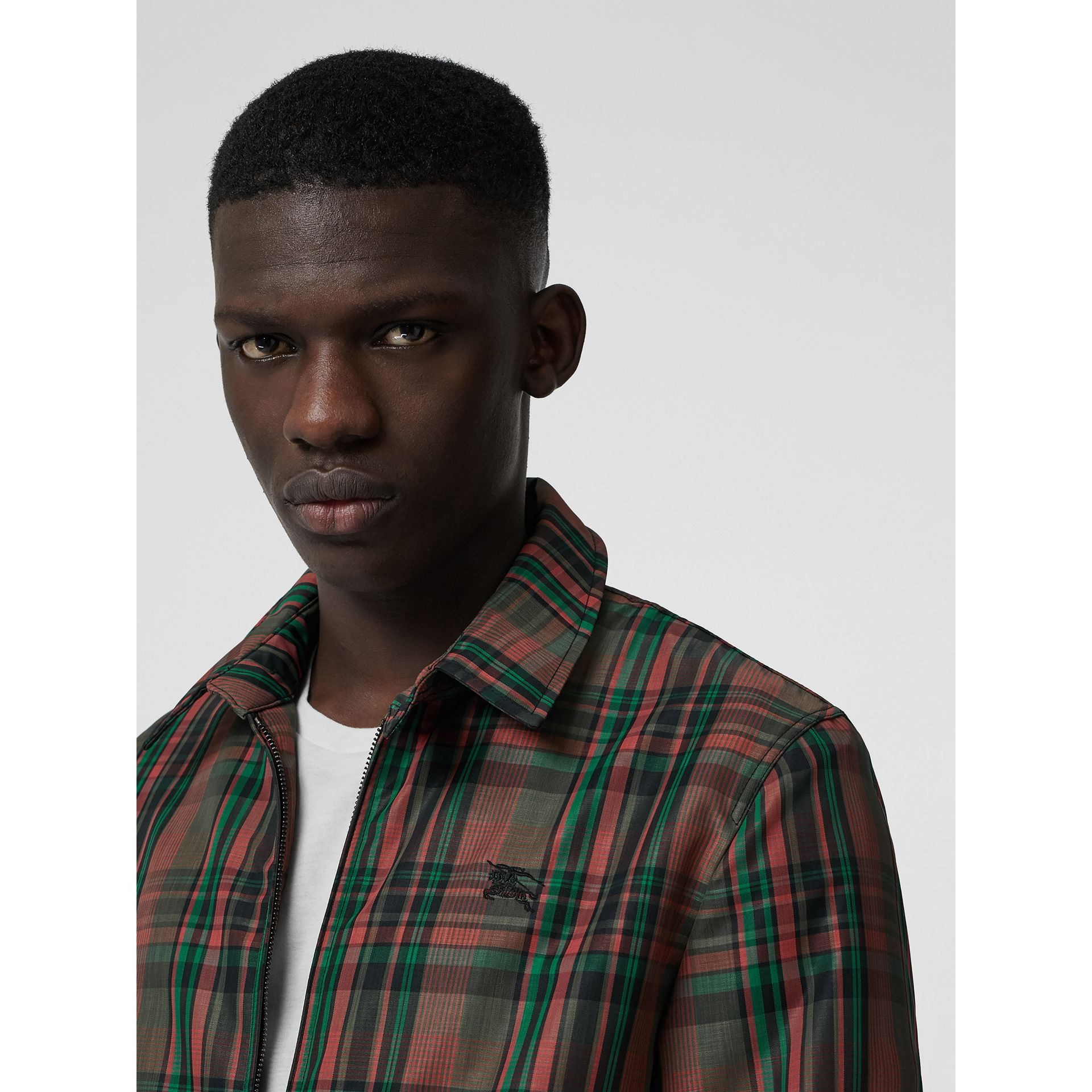 Veste Harrington à motif check avec doublure molletonnée (Rouge Feuille Morte) - Homme | Burberry - photo de la galerie 1