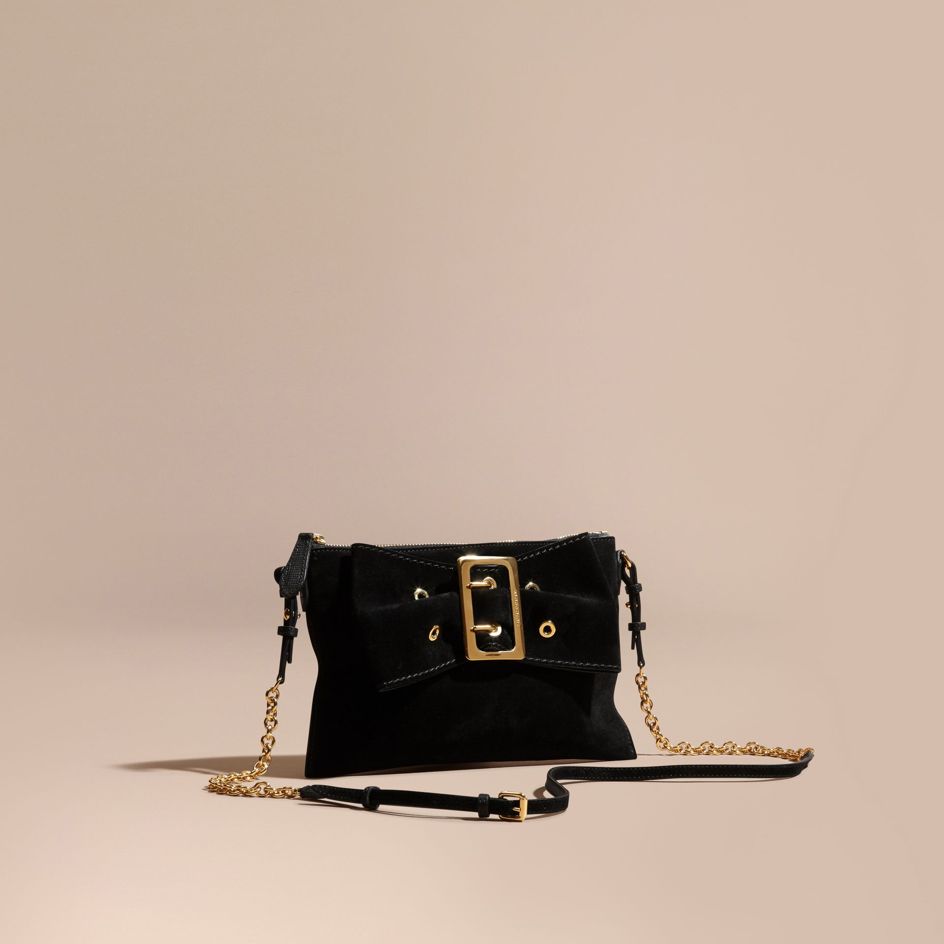 Suede Clutch Bag with Buckled Bow Detail in Black - gallery image 1
