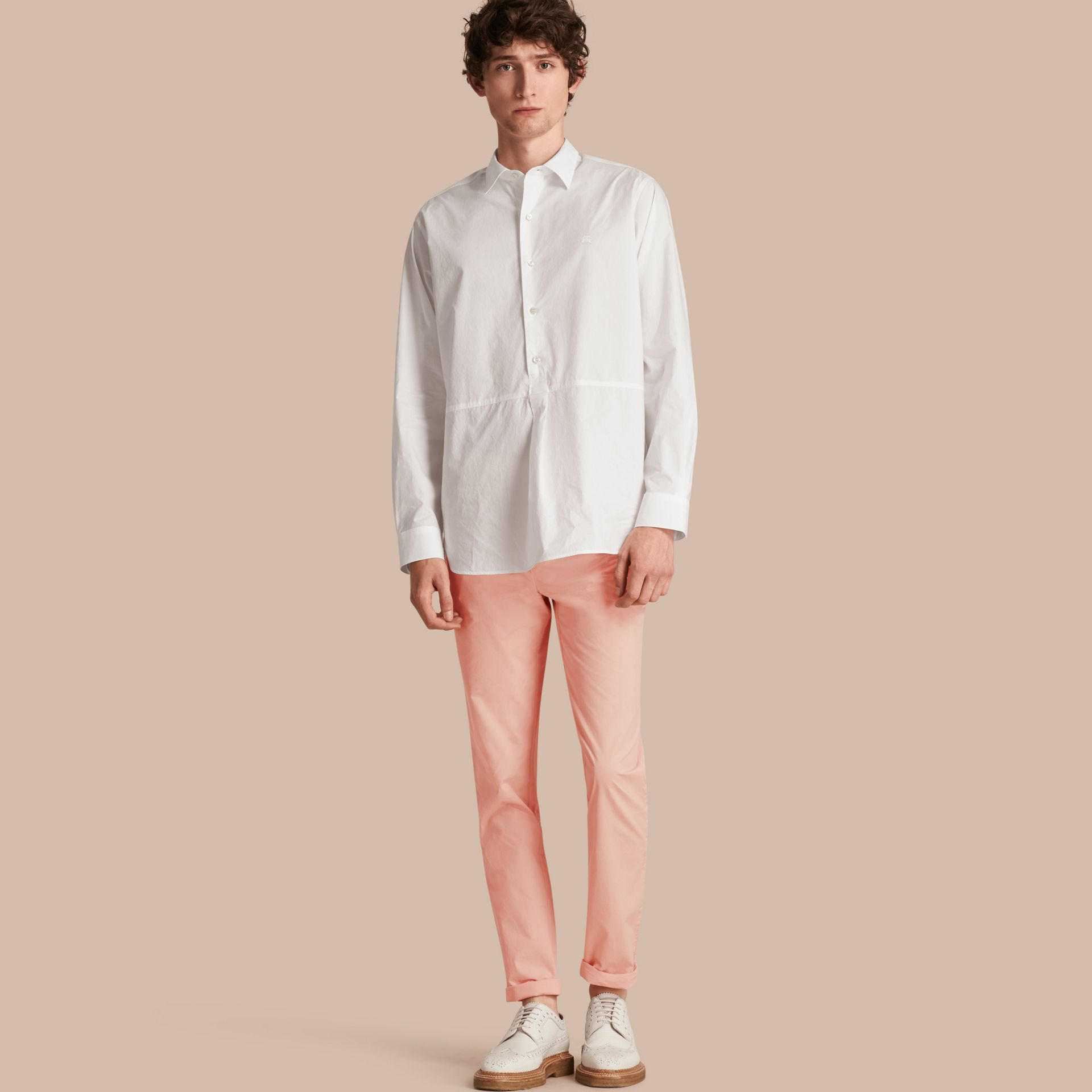 Slim Fit Cotton Poplin Chinos Apricot Pink - gallery image 1