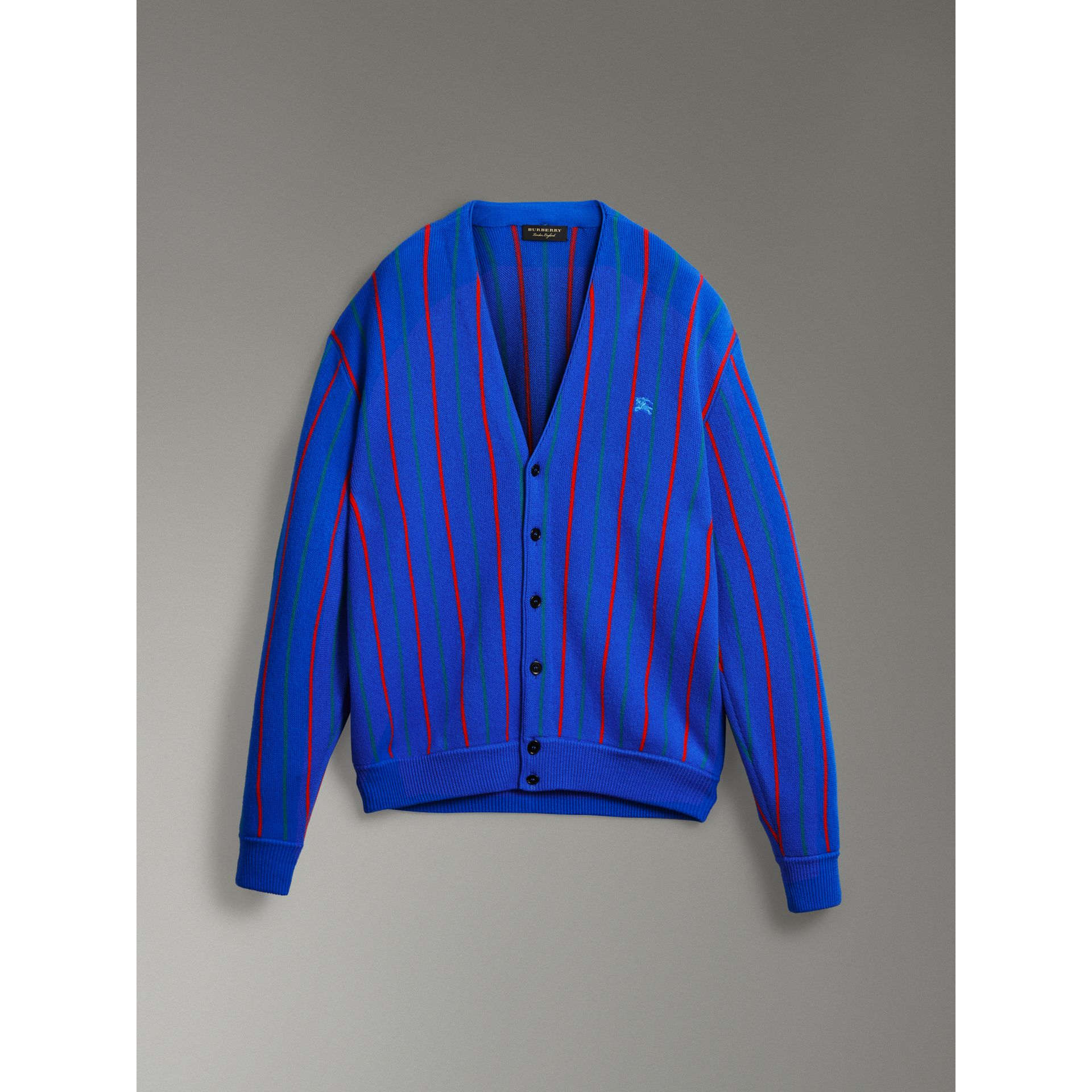 Reissued Striped Wool Cardigan in Royal Blue - Women | Burberry - gallery image 3