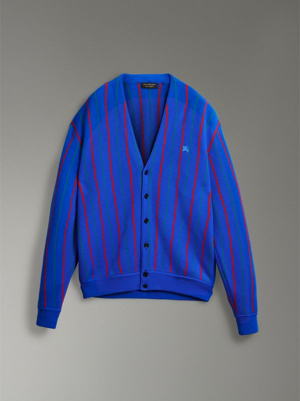 Reissued Striped Wool Cardigan in Royal Blue - Women | Burberry - cell image 3