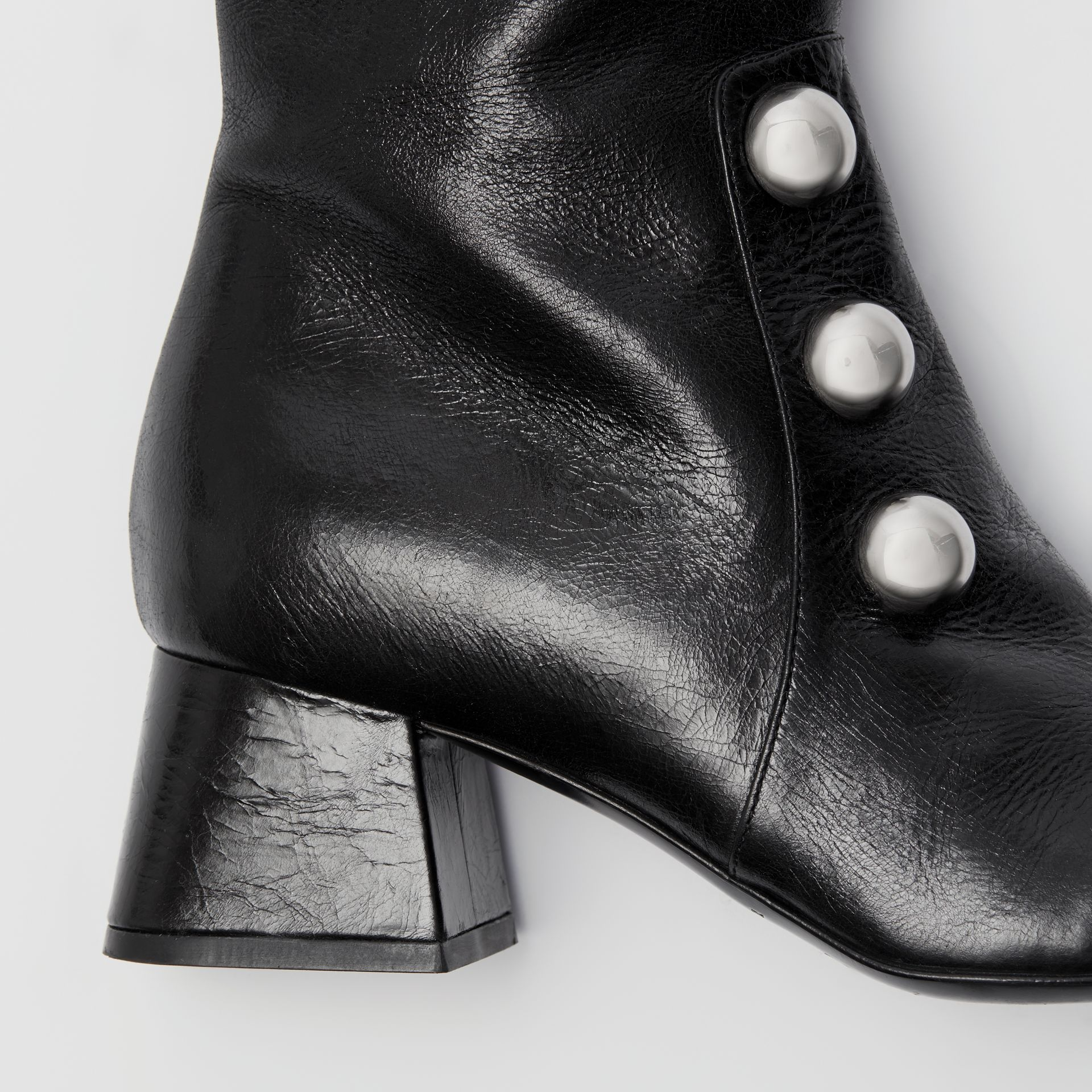 Stud Detail Leather Knee-high Boots in Black - Women | Burberry United States - gallery image 1