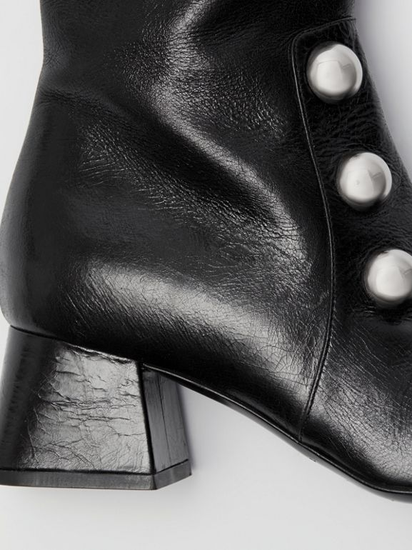 Stud Detail Leather Knee-high Boots in Black - Women | Burberry United States - cell image 1