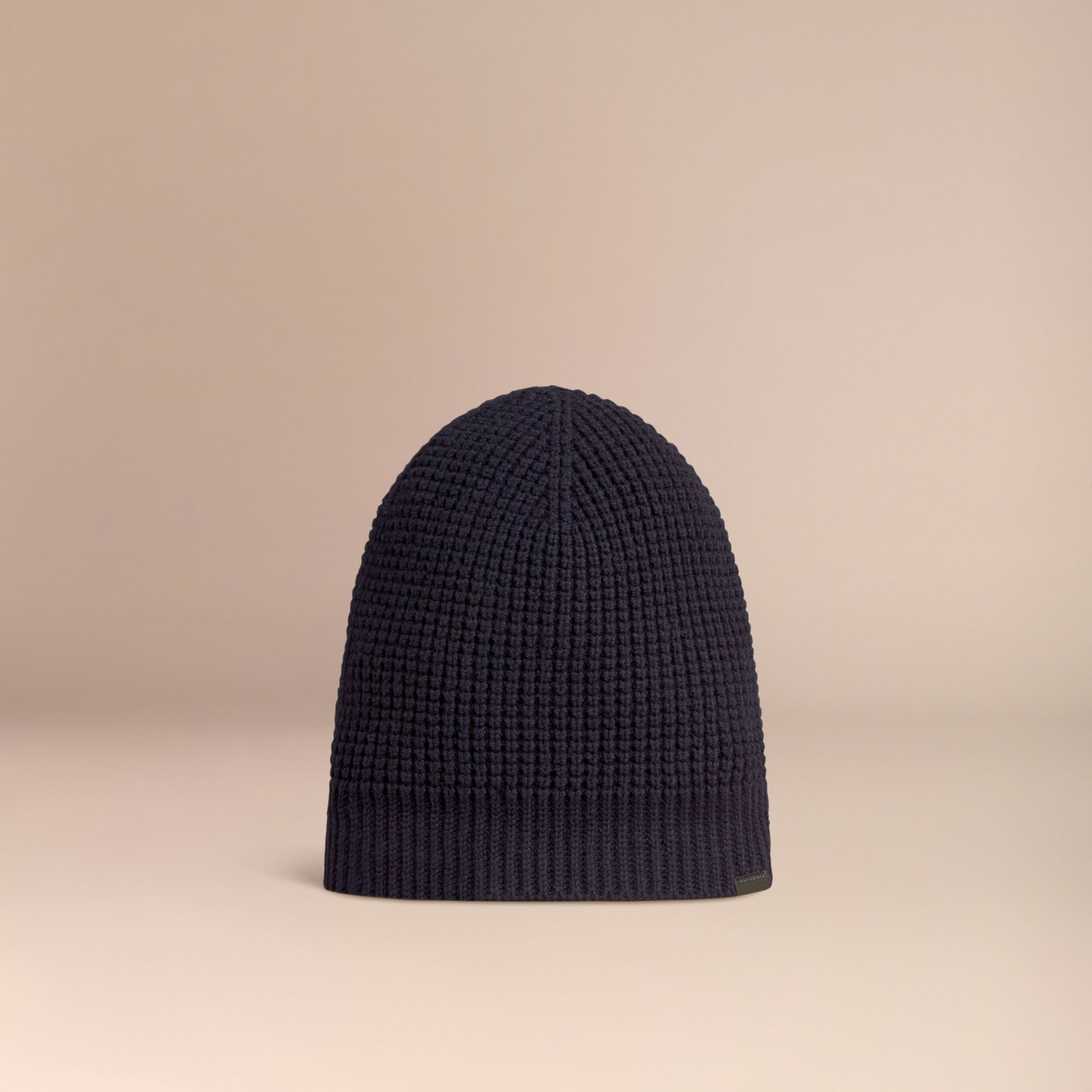 Cashmere Blend Waffle Knit Beanie in Dark Navy - Men | Burberry - gallery image 3