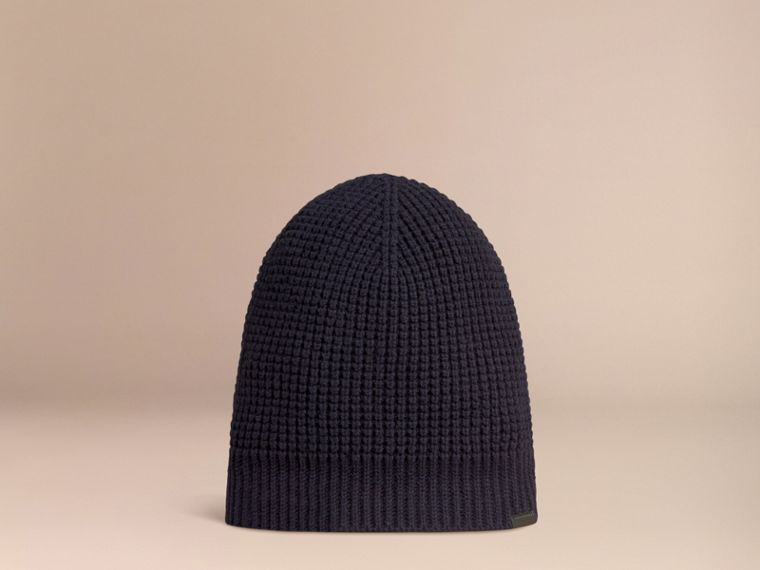 Cashmere Blend Waffle Knit Beanie in Dark Navy - Men | Burberry - cell image 2
