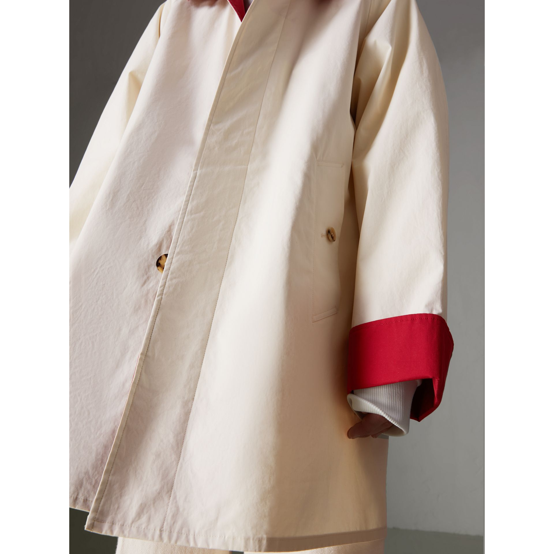 Reissued Waxed Cotton Gabardine Car Coat in Pale Stone - Women | Burberry - gallery image 5