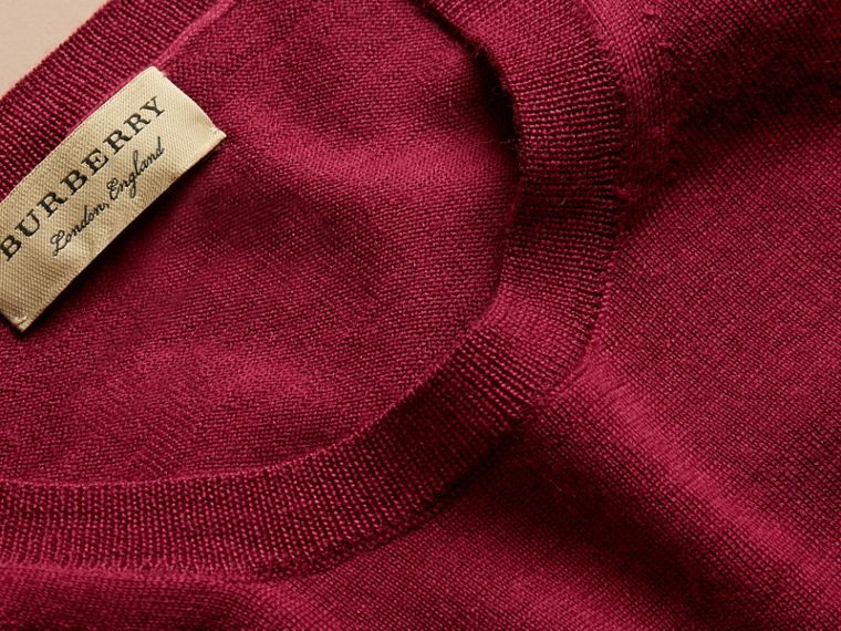 Crimson Check Detail Merino Wool Crew Neck Sweater Crimson - cell image 1
