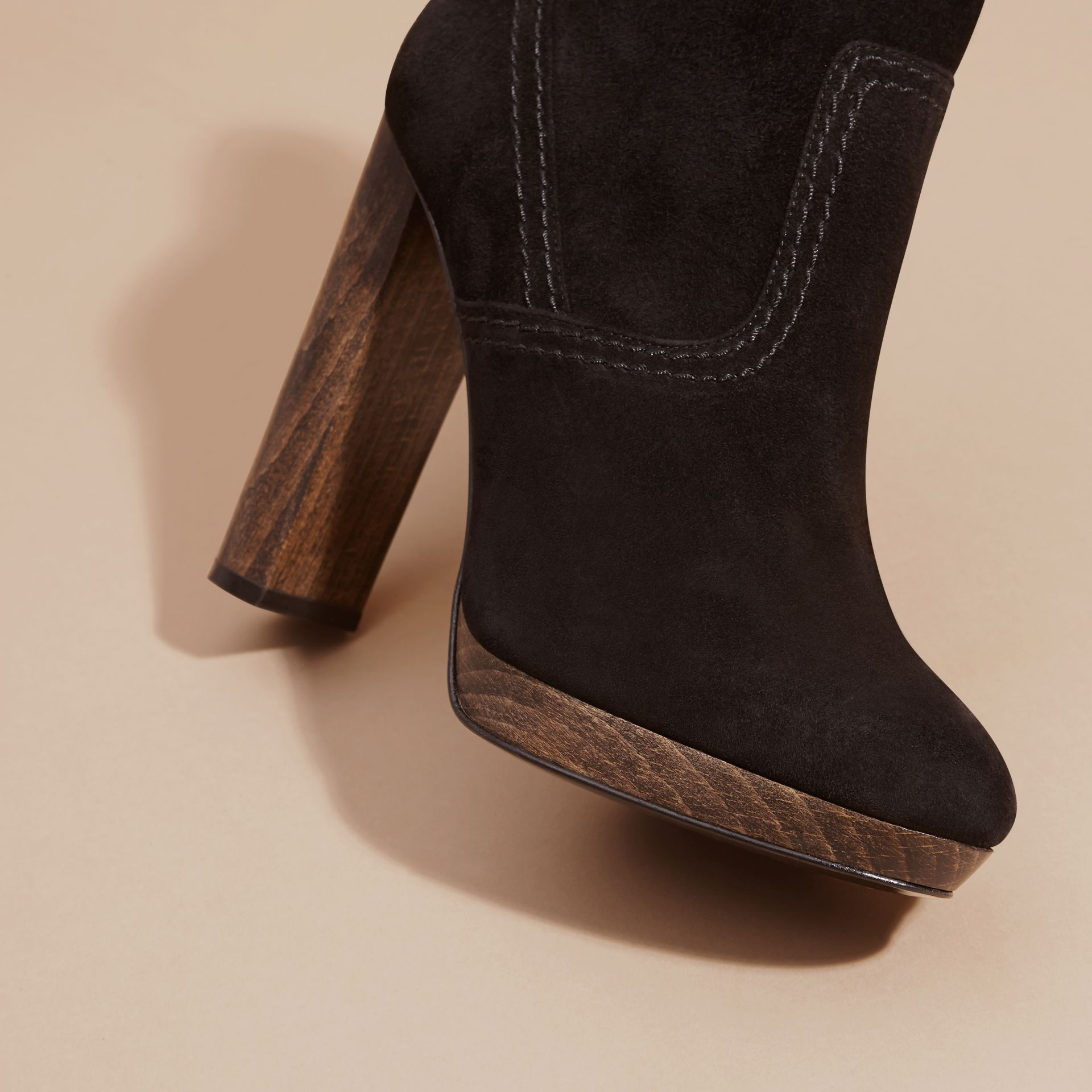 Black Suede Ankle Boots Black - gallery image 2