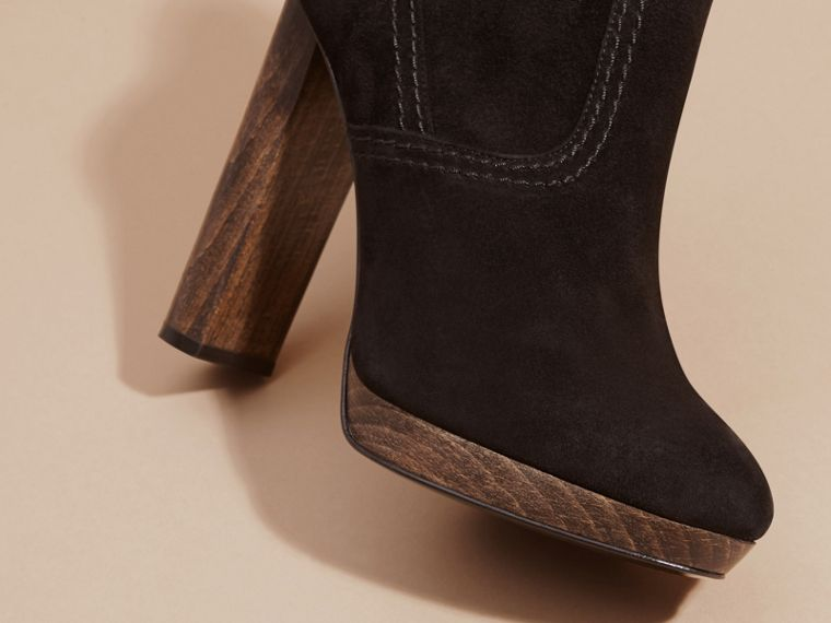 Black Suede Ankle Boots Black - cell image 1