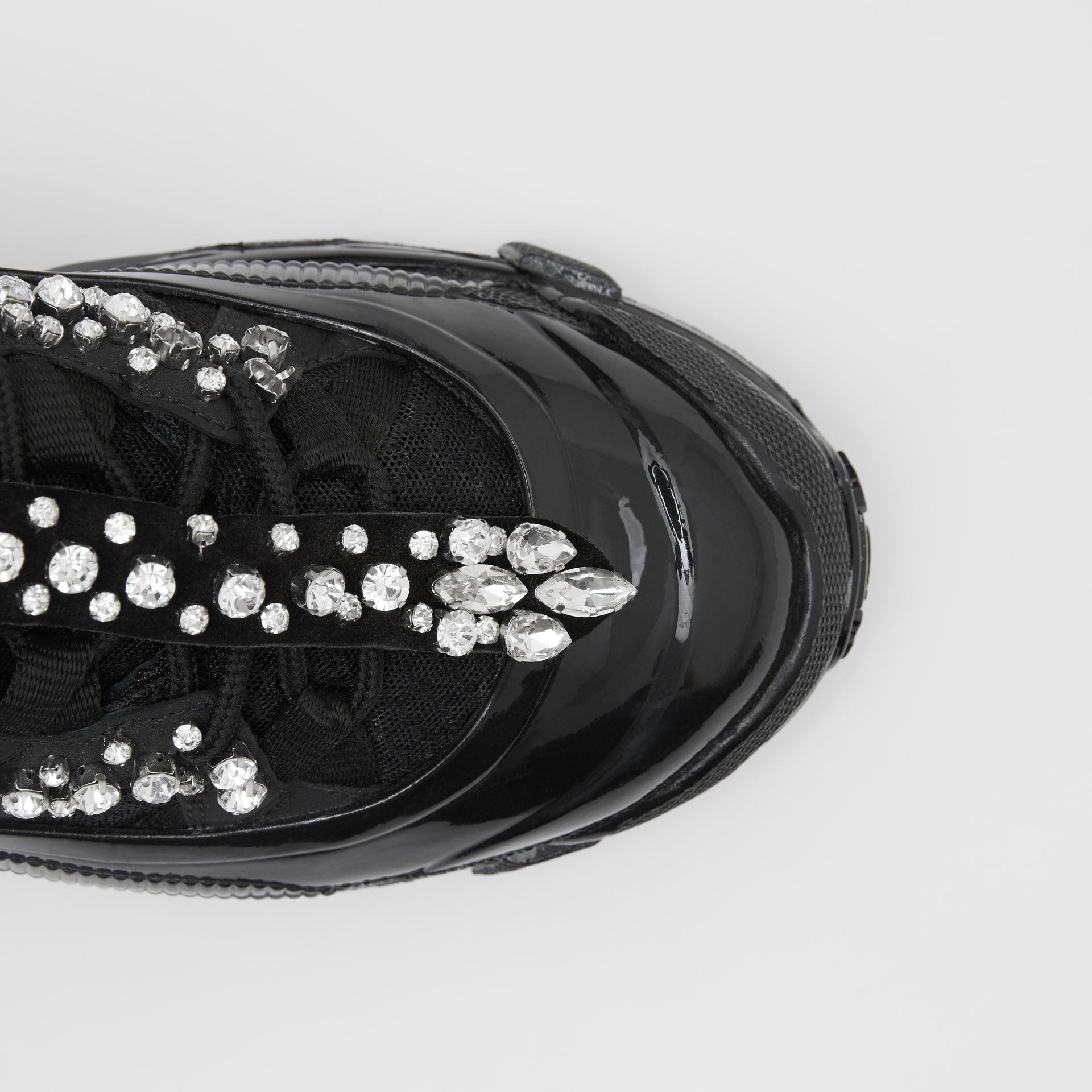 Crystal Detail Suede and Mesh Arthur Sneakers in Black/crystal - Women | Burberry - gallery image 1