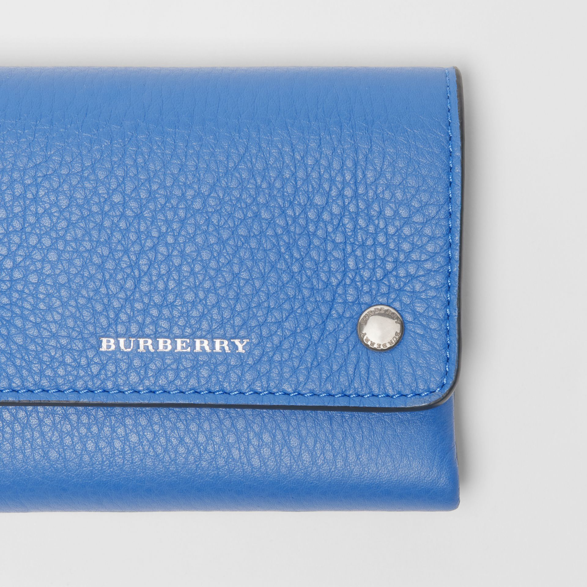 Small Leather Folding Wallet in Hydrangea Blue - Women | Burberry - gallery image 1