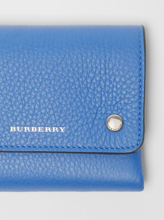Small Leather Folding Wallet in Hydrangea Blue - Women | Burberry - cell image 1