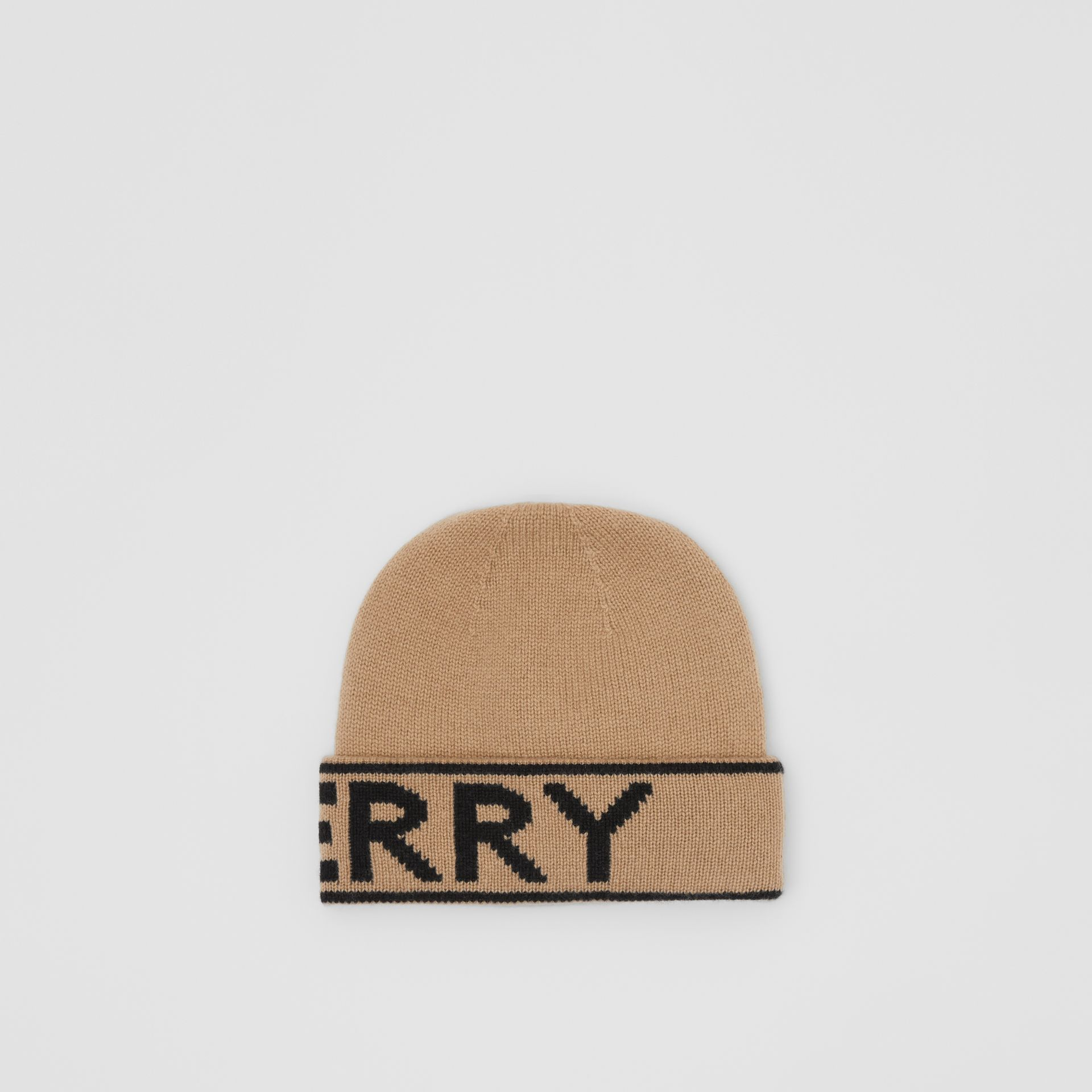 Logo Intarsia Cashmere Beanie in Archive Beige | Burberry - gallery image 4