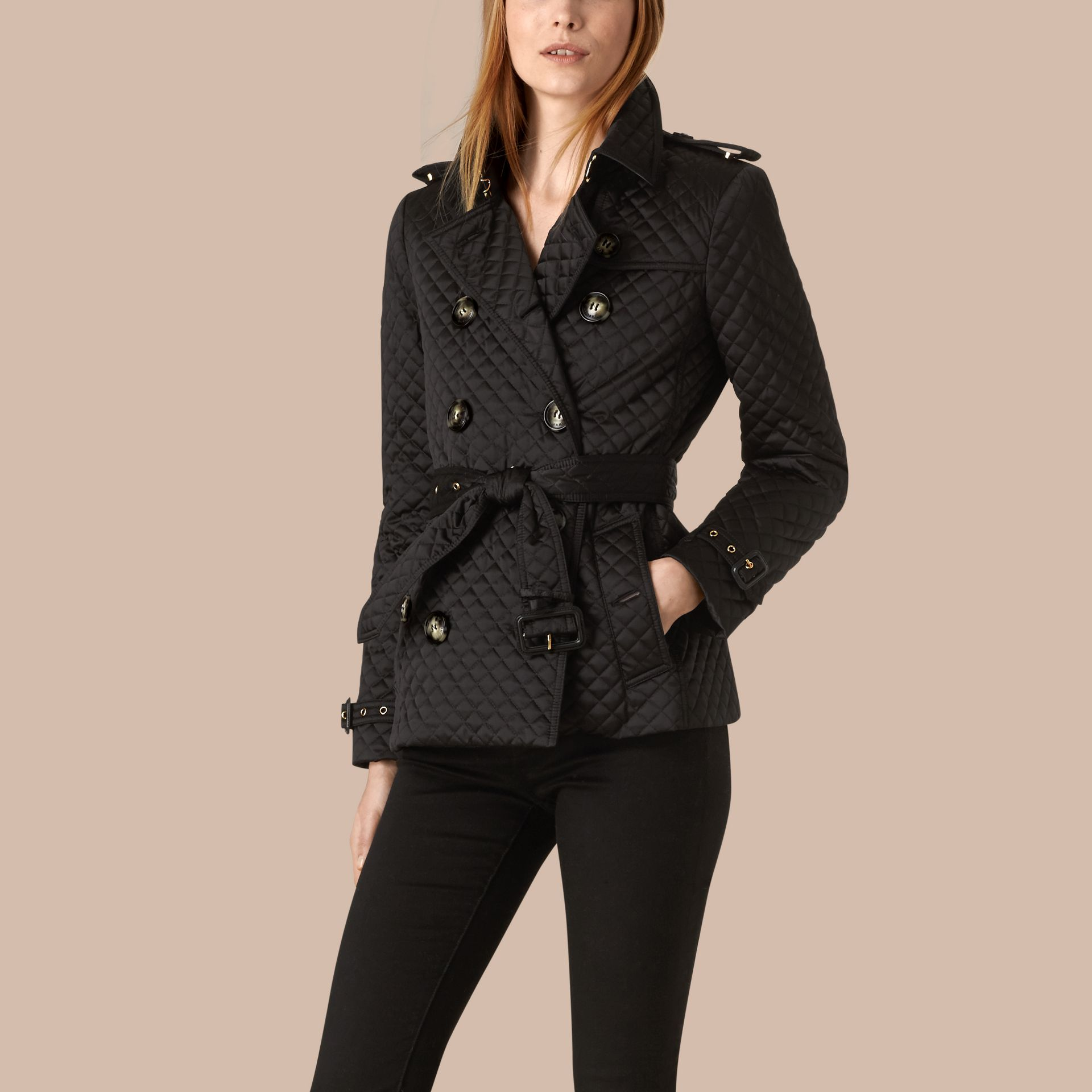 Black Diamond Quilted Trench Jacket - gallery image 1